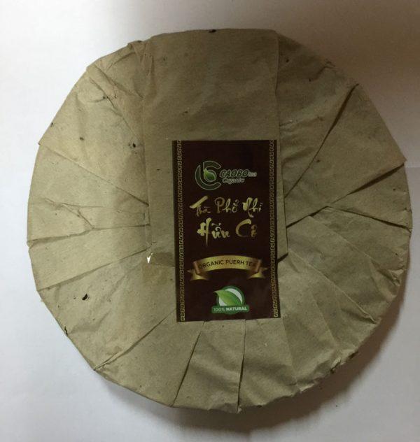 Trà Phổ Nhĩ hữu cơ bánh 350g (trà chín) - Cao Bo Organic Tea