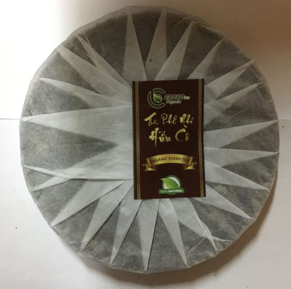 Trà Phổ Nhĩ hữu cơ bánh 350g (trà sống) - Cao Bo Organic Tea