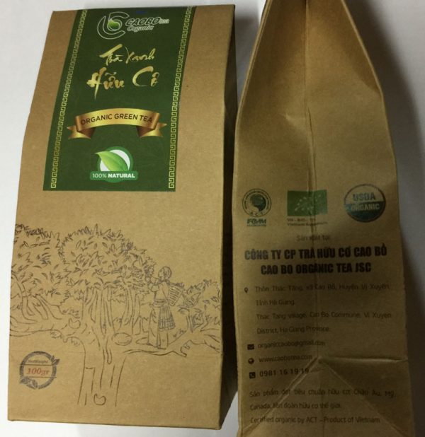 Trà xanh hữu cơ túi giấy loại đặc biệt Cao Bo Organic Tea